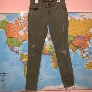 Express Olive Green Jegging Jeans